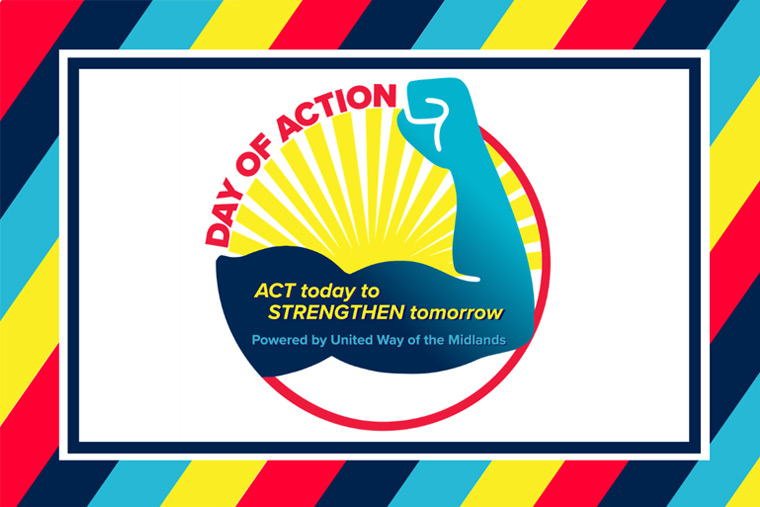 Colorful graphic with the Day of Action logo. Logo is an arm flexing with Act Today to Strengthen Tomorrow