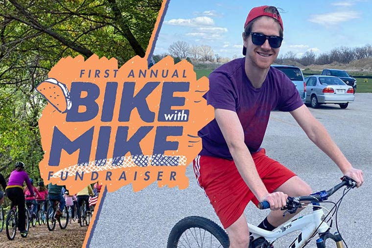 Bike with Mike Logo Illustration next to photo of Mike on a bicycle