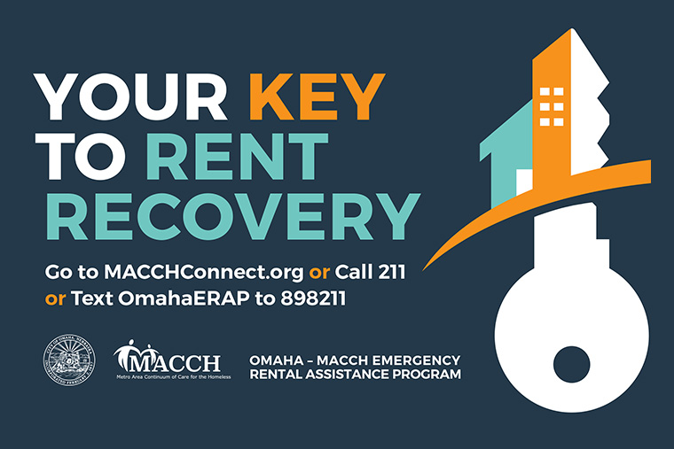 Your Key to Rent Recovery Logo - Call 211 for help or Text OmahaERAP to 898211